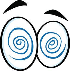 Hypnotized Cartoon Eyes  Illustration Isolated on white