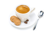 biscotti cookies and cup of espresso, top view, isolated