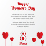 8 March Women's Day card with roses and text.
