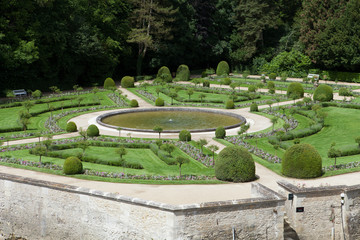 Gardens at Chateau Chenonceau in the Loire Valley of France