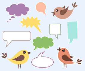Cute birds with speech bubbles
