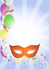 sfondo carnevale mascherina arancione coriandoli e palloncini