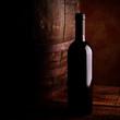 wine bottle and barrel