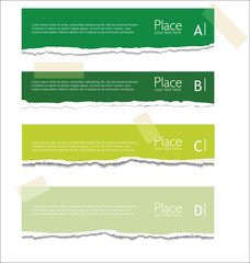 Green Torn paper background with space for text