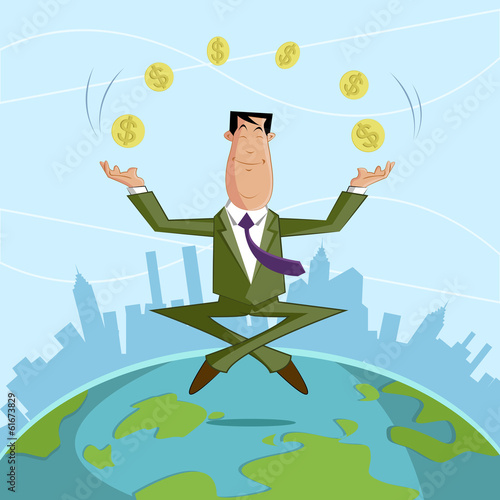 Businessman juggling with dollar coin