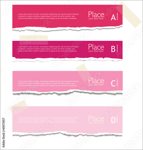 Pink Torn paper background with space for text