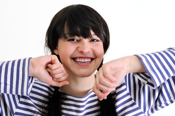 portrait of cheerful young woman