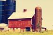 Retro American Farmland With Blue Cloudy Sky