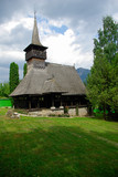Monastery Dragoslavele. Traditional wood church from Romania.