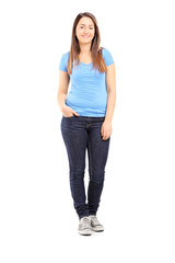 Full length portrait of a teenage girl posing