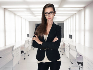 Attractive businesswoman with brown hair in modern office