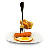 image of eggs and sausages on a plate on white background