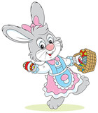 Easter Bunny walking with a basket of eggs