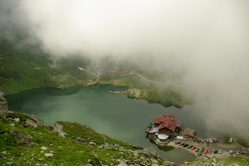Balea Lake and cottage in Romania. Fagaras mountains