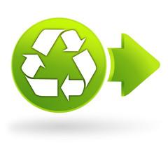 icône recyclable sur symbole web vert