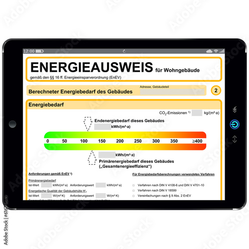 Business Tablet mit Energieausweis Dokument - g548