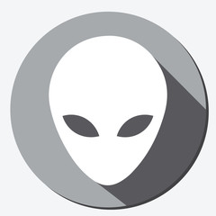 Alien head icon flat button