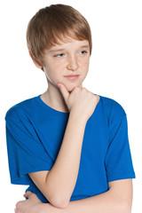 Thoughtful preteen boy