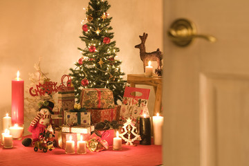 Christmas tree and presents in a room