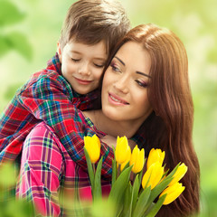 Spring portrait of mother and son on Mother's Day