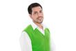 Gut aussehender junger Mann in Grün und Weiß: lachend isoliert