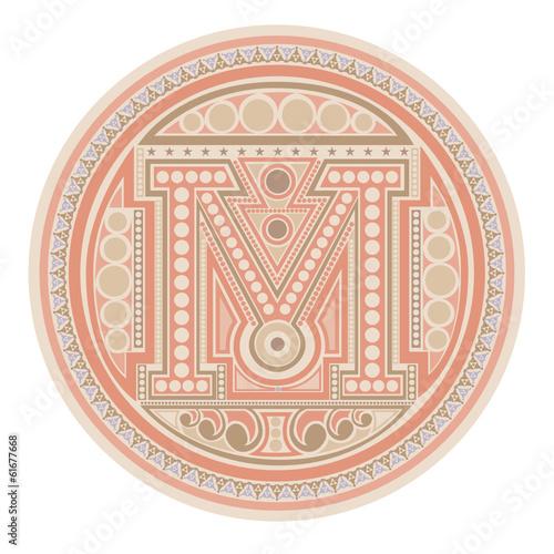 capital letter m circle label