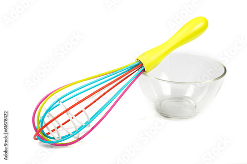 whisk on a glass bowl