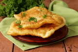 Traditional Asian food fried pies with meat (cheburek)