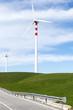 pala eolica su collina verde