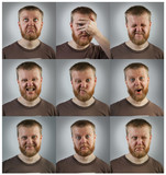Portraits of men with different emotions