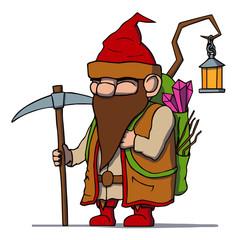 Cartoon dwarf miner. Vector illustration.
