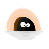 Nice cartoon vector mouse in hole