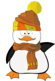 Nice cartoon penguin with scarf and hat
