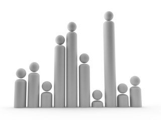 selection of graph like people to show growth in staff or popula