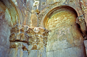 Arabic inscription in Temple of Bacchus, Baalbek, Lebanon
