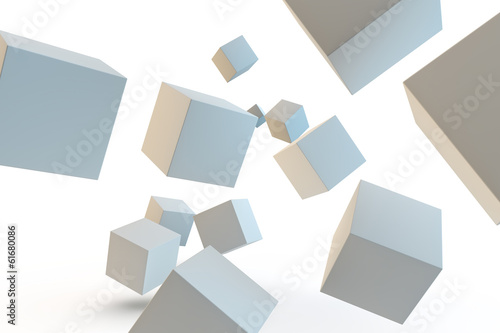 selection of 3d rendered cubes coming towards camera