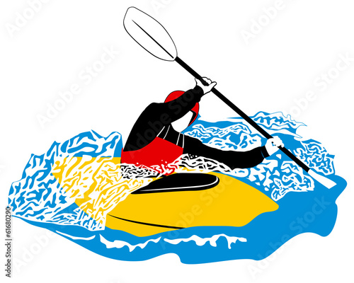 paddler in yellow boat rawing through waves with white foam