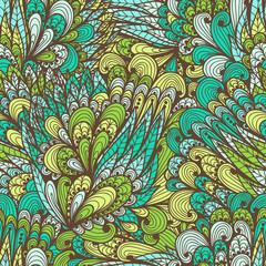 Seamless floral vintage fantasy green doodle pattern
