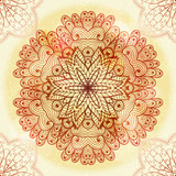 Hand drawn ethnic circular beige ornament. Eps10