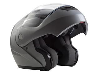 Gray, glossy motorcycle helmet