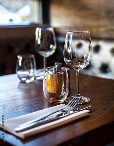 Empty glasses set in restaurant  - 61682051