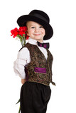 Boy in hat with a bouquet of carnations