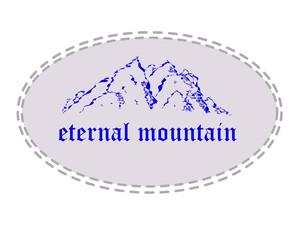 Blue mountain in ellipse.