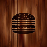 Hamburger web icon. Wooden background.