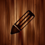 Pencil web icon. Wooden background.