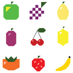 Simple shape fruits and berries