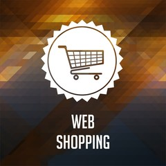 Web Shopping Concept on Triangle Background.
