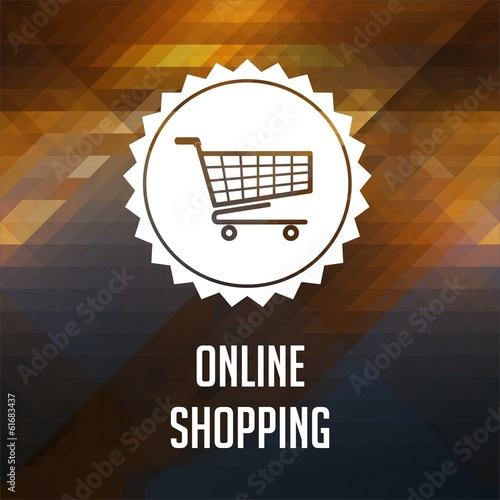 Online Shopping Concept on Triangle Background.