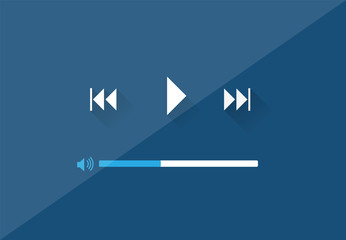 Flat Player Application in Stylish Colors Vector Illustration
