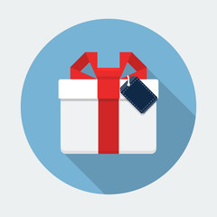 Gift Box Flat Icon with long shadow